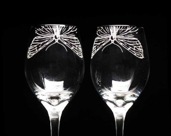 Etched Wine Glasses / Set of two - Moth