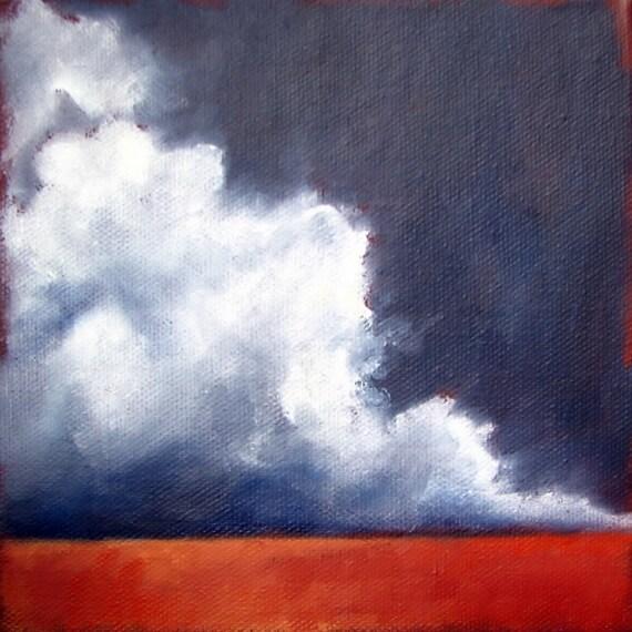 Original oil painting dark sky thunderstorm clouds wall art home decor landscape twilight  - Stormscape series twentytwo
