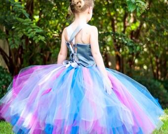 Flower Girl Tutu Dress Floor Length Sewn Tutu Dress Royal Blue Purple Gray Satin Corset Style Top and Satin Flower Hair Clip CUSTOMIZABLE