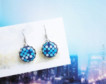 Blue polka dots small earrings