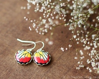 Red and yellow butterfly wings -  Small dangle earrings. Butterfly jewelry, summer earring, nature jewelry, rustic wedding jewelry