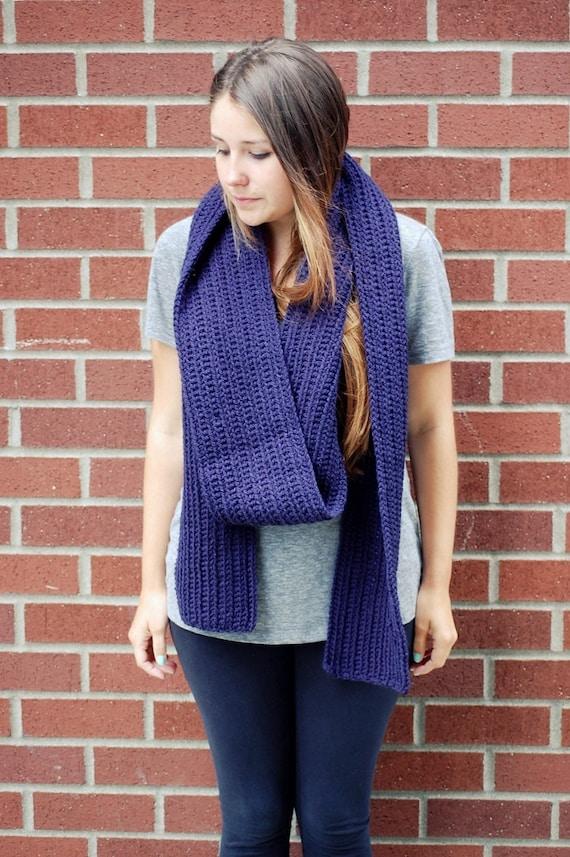 scarf sale - Crochet chunky long scarf in navy blue