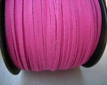 Hot Pink faux suede cord, 3mm, Fuchsia suede cord for bralelets, necklaces etc. 3mm, 5m (16 ft)
