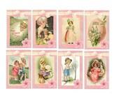 Vintage Easter Hang Tags Printable Collage Sheet Download JPG Digital File (2e)