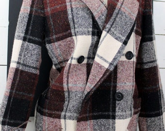 Casual Corner Plaid Wool Lined Jacket Size  6-8