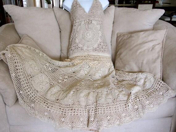 Vintage Style Crocheted Halter Dress Tea Stain Shabby Chic Dress Sweet Victorian Romantic Irish Lace Inspired