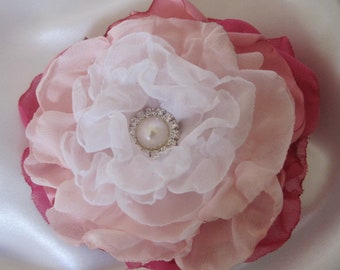 OMBRE Fabric Wedding Flower Bridal Hair Clip in Shades of Pink, Bride, Mother of the Bride, Bridesmaids