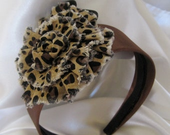 Sale......Girls Brown Satin Headband with a Animal Print Fabric Flower