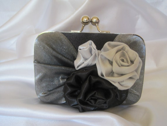 BLACK Clutch  Grey Pleated Front  with Three Handmade Satin Roses in Grey and Black