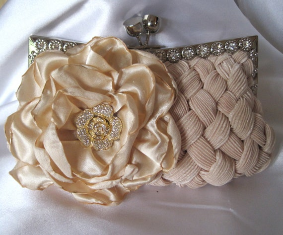 Champagne Beige Pleated Satin Crystal Touch Front Frame Clutch  with a Champagne Satin Open Rose and a Gorgeous Rhinestone Flower Accent