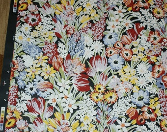 Love this paper.. Vintage Retro BLACK TULIPS & FLOWERS Handprint Wallpaper Single Roll