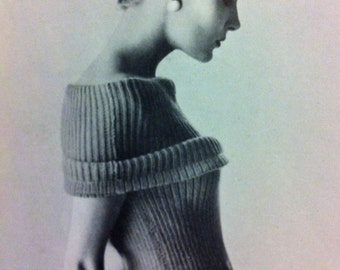 50s style Resort chic -EASY to make ribbed knit b34 b36-  Australian knitting ePattern - PDF