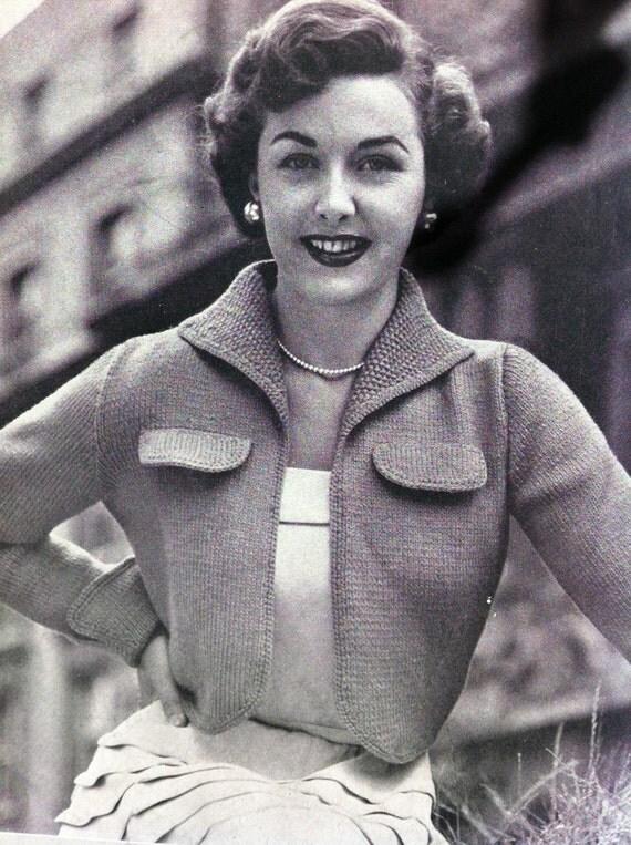 "SPECIAL PRICE 50s design ""Be My Uptown Girl"" Cropped Jacket- Australian knitting ePattern PDF b34"