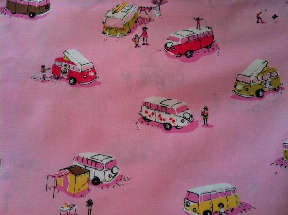 Fat Qurarter Heather Ross VW Vans Lightning Bugs On Pink