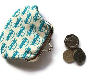 Blue Coin Purse - Small Change Purse - Coin Purse - Change Wallet - Framed Coin Purse