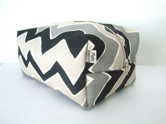 Black Chevron Makeup Bag  - Cosmetic Pouch -  Lunch Bag - Wet Bag -Waterproof Bag