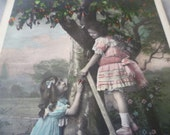 Antique Postcard, French Children. Vintage Circa 1900ish.