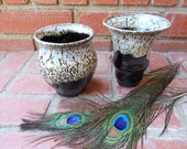 Set of 2 Snowy Black and White Small Vases