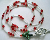 Christmas Tree Red, White & Green Beaded Badge Lanyard SRAJD