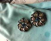 Vintage Silver Tone Blue Rhinestone Buttons Crafts,Detash