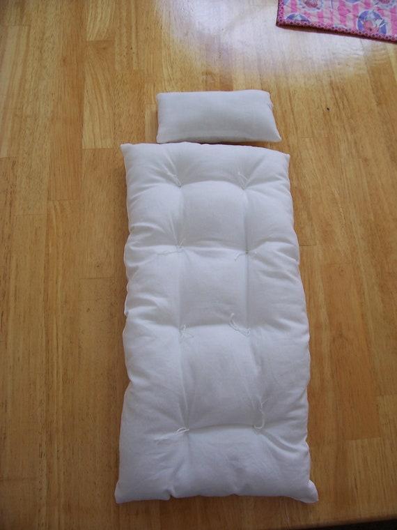 """American Girl Doll 18"""" Handmade Organic Cotton Mattress Pillow Set /Bedding"""