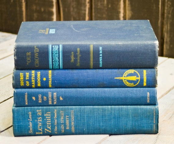 Vintage Books, Book Collection, Book Bundle, Photography Props, Shades of Blue Books ,Instant library