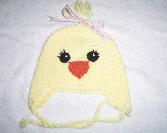 Crochet Hat, Chick Earflap Hat, Made to Order