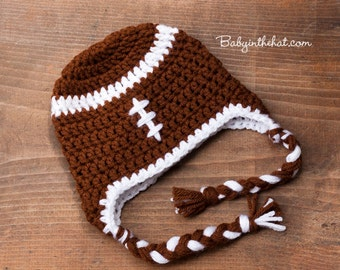 Newborn Brown And White Football Earflap Crochet Hat Photo Prop