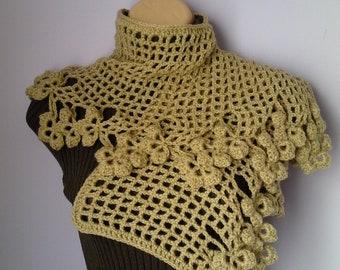 Crochet Shawl, Scarf , Neckwarmer women accessories beige, шарф, sjaal, bufanda, cachecol, sciarpa, Schal, foulard, echarpe