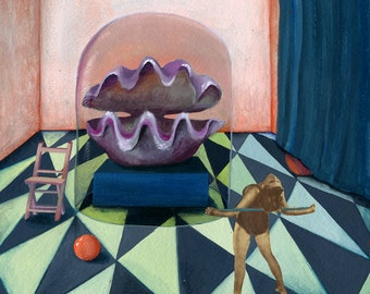 Woman with giant  shell - illustration - giclee  print