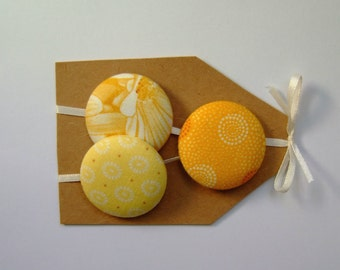 3 big Buttons, 1 1/2 in covered buttons in shades of yellow with white