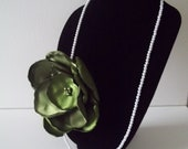 """Large Olive Green 6"""" Rose Rosette Flower Pearl Necklace with Center Olive Green Pearls 16"""" Length"""