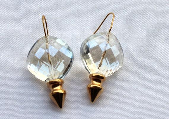 Gold Crystal Spike Earrings