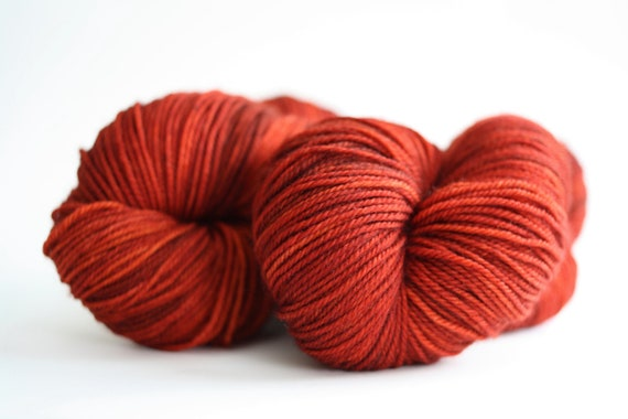 Cannonball Sock 80/20 SW Merino and Nylon Fingering Weight in colorway Pimiento