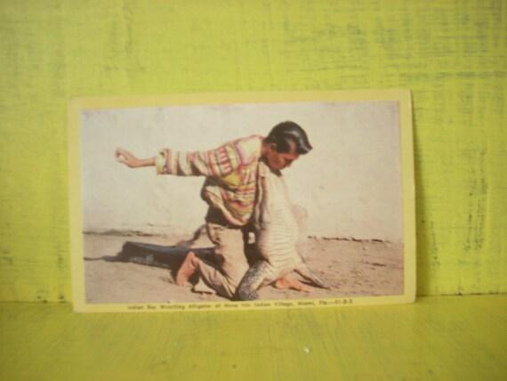 1940s Vintage Alligator Wrestler Post Card