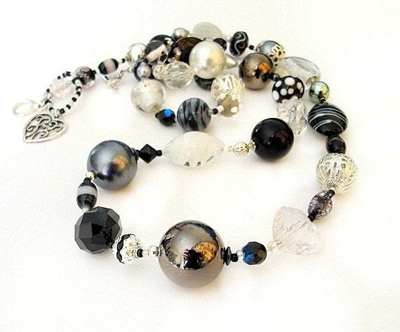Black white long beaded necklace 'Viva' handmade