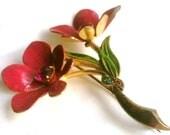 Enamel Flower Brooch, Victorian Pin, Pink Rhinestone, Vintage Jewelry, Gift for Her VALENTINE SALE