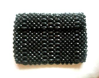 Black Lucite Bead Bag, 1960s Vintage Handbag, Swinging Sixties Purse FALL Sale