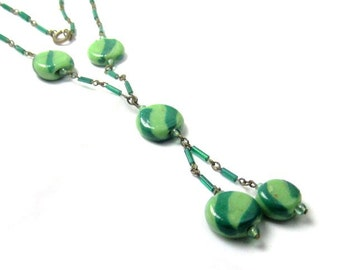 Art Deco Necklace, Green Art Glass Green, Vintage Jewelry, Gift for Her SALE