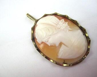Lady Cameo Pendant, Art Deco Pendant Vintage Jewelry, SALE