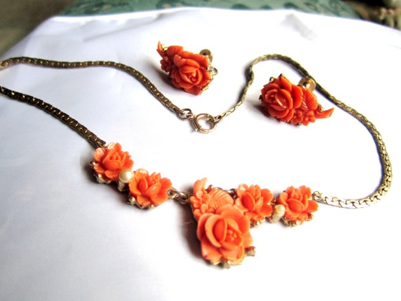Bridal Art Deco Celluloid Necklace w Earrings Coral Rose 1920s Vintage Jewelry
