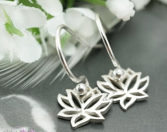 Lotus Earrings, Bridal jewelry, Bridesmaids gift, Drop earrings, Wedding favor, Short dangle, Sterling silver