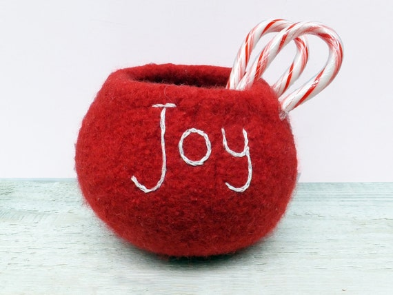 Red Christmas Holiday Bowl - Felt Wool, Home Decor, Red White, Embroidered, Storage, Joy, Hostess Gift
