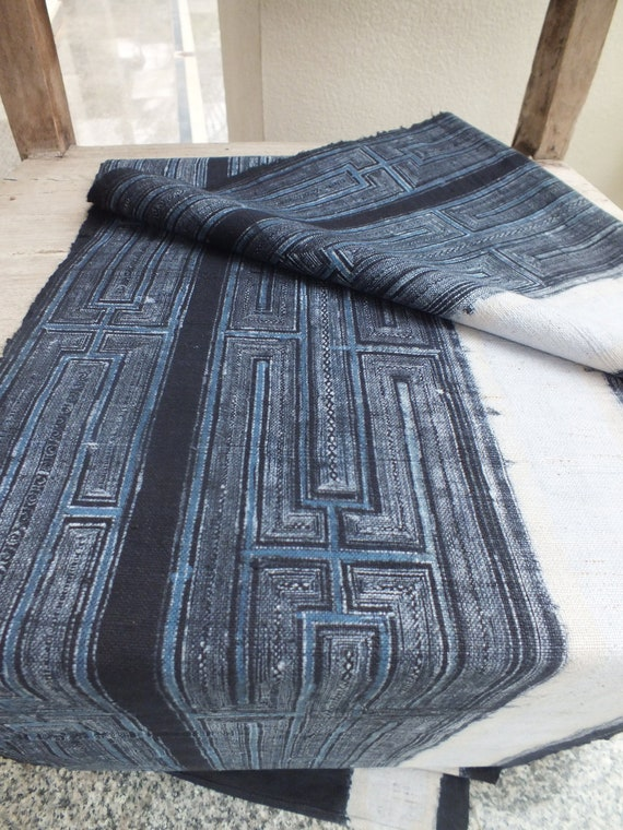 Handwoven hemp Vintage fabric Indigo Hmong Hemp,from Thailand