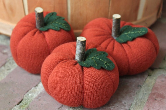 Upcycled Sweater Pumpkins- Mini Set of 3, Fall Decor, Set 7