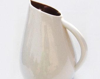 Ceramic pitcher brown and cream