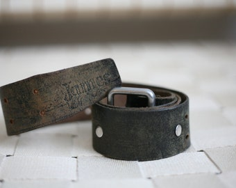 """SALE -40% 70s cool leather belt """"James"""" black with round metal rivets"""