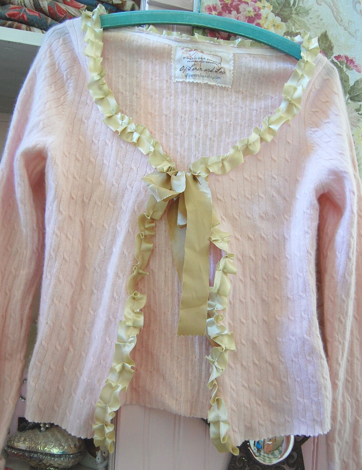 Upcycled Cashmere Sweater Women Clothing Cardigan Pink Small