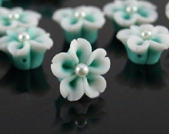 10 pcs 12 mm Polymer Clay Flower Beads FIMO Pendant Charm craft jewelry Necklaces Earrings Bracelet Accessories-by sunshinepark99 -green