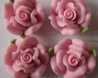 10 pcs 14 mm Polymer Clay Flower ,rose,Beads, FIMO, Pendant Charm craft jewelry Necklaces Earrings Bracelet Accessories -deep pink k3